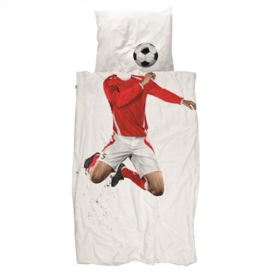 Snurk Jugendbettwäsche Fussball 160x210+65x100 cm rot