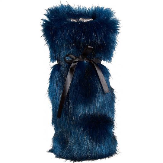 Winter Home Fellimitat Geschenk-Beutel Midnight 30cm Blau