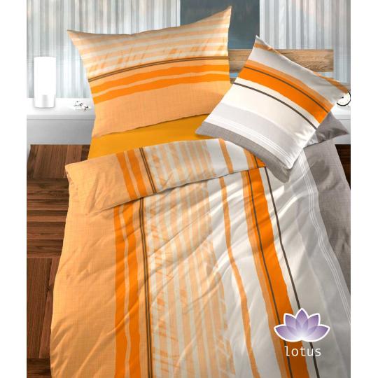 Bettwäsche Satin Mauro Orange mit Streifen